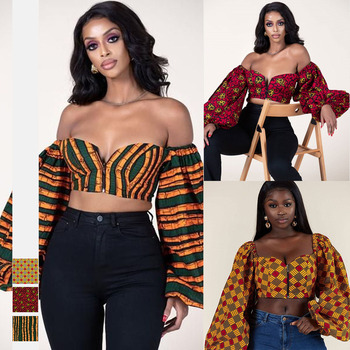 Summer Sexy Top Ladies African Clothes Dashiki Shoulder Off Zipped Africa Shirts Fashion Clothing African Dresses for Women image