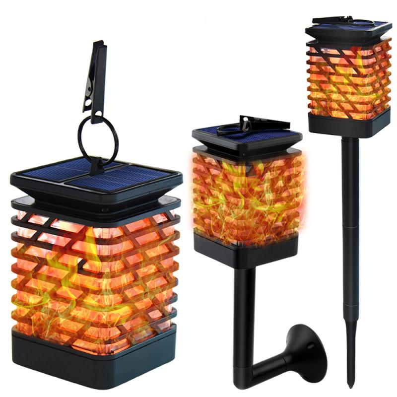 LED Light Sensor Solar Lamp Flickering Smokeless Flameless Candle Waterproof Flame Lamp Flickering Garden Light Hanging Lantern