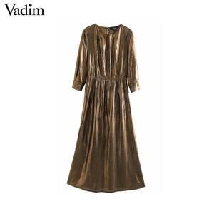 Image 1 - Vadim נשים מוצק בסיסי midi שמלת שלוש רובע שרוול נקבה מקרית ללבוש אופנתי שיק קו שמלות vestidos QD137