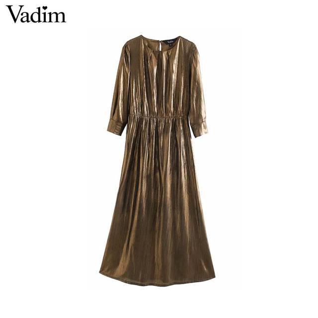Vadim נשים מוצק בסיסי midi שמלת שלוש רובע שרוול נקבה מקרית ללבוש אופנתי שיק קו שמלות vestidos QD137