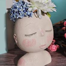 1pc Home Human Face Vase Decoration Big Eyes Flowerpot Crafts Embellishment