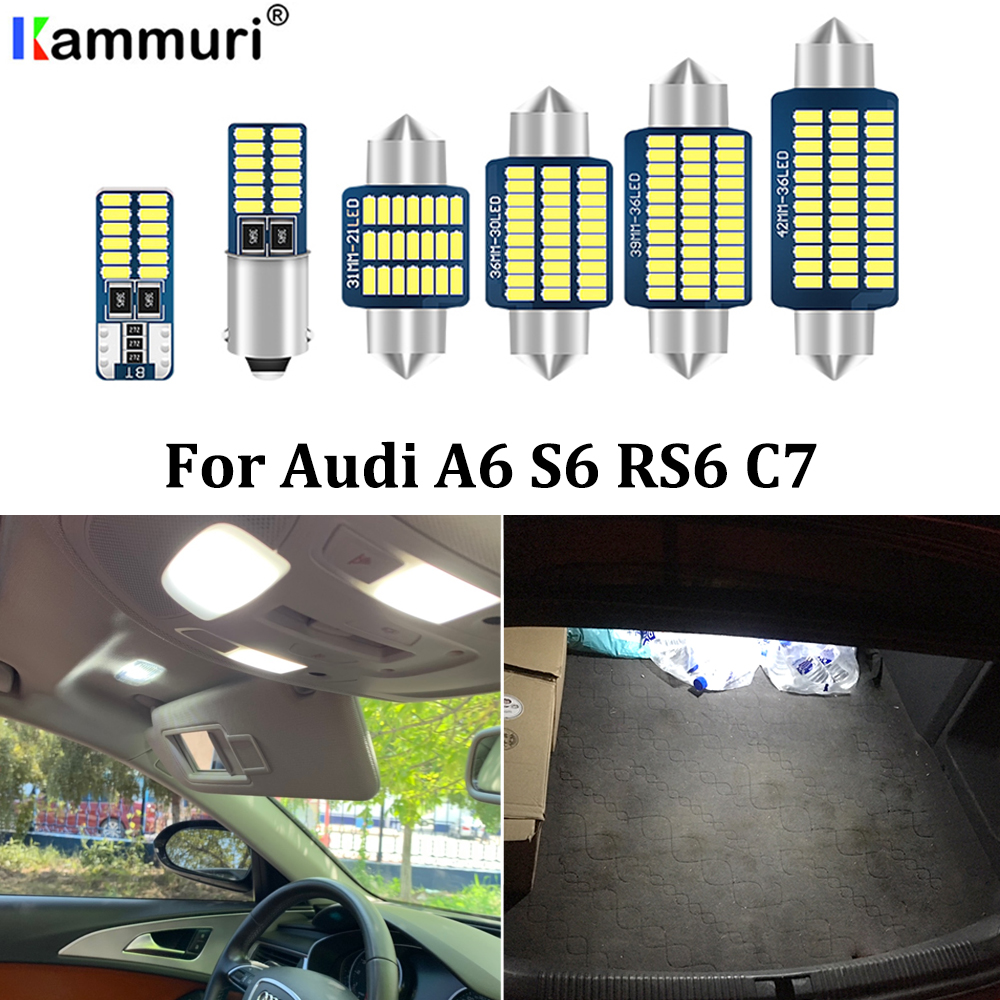 KAMMURI 12Pcs Canbus Error Free White LED Interior Map Dome Light Package Kit For Audi A6 S6 C7 4G Sedan Avant Wagon (2012+) image