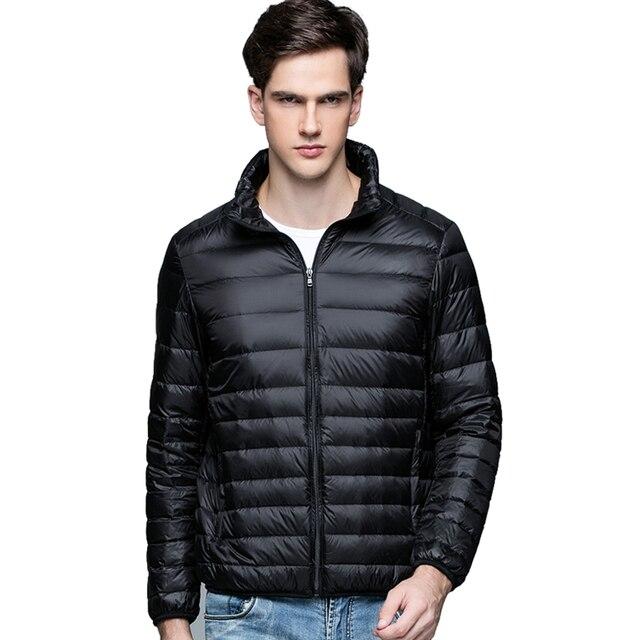 New Autumn Winter Man Duck Down Jacket Ultra Light Thin Plus Size Spring Jackets Men Stand Collar Outerwear Coat 4