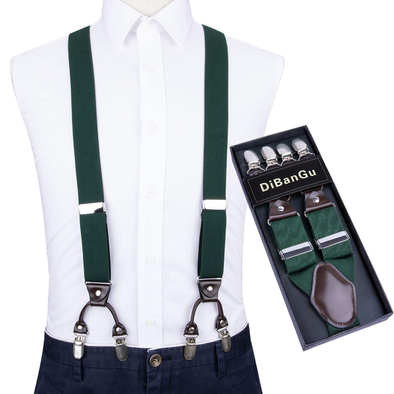 Men Dark Green Elastic Suspender Genuine Leather 6 Clips Brace Male Vintage Wedding Party Trousers Fashion Suspenders DiBanGu