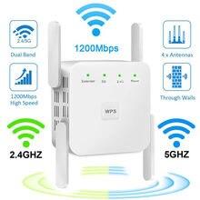 5g roteador wifi faixa repetidor extensor sem fio wi-fi 802.11n amplificador de reforço 2.4g/5ghz rede longo sinal 1200/300mbps
