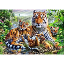 Diy 5d diamond painting tiger by the river embroidery cross