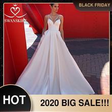 Женское атласное свадебное платье, простое трапециевидное платье со шлейфом и карманами, модель F136, 2019
