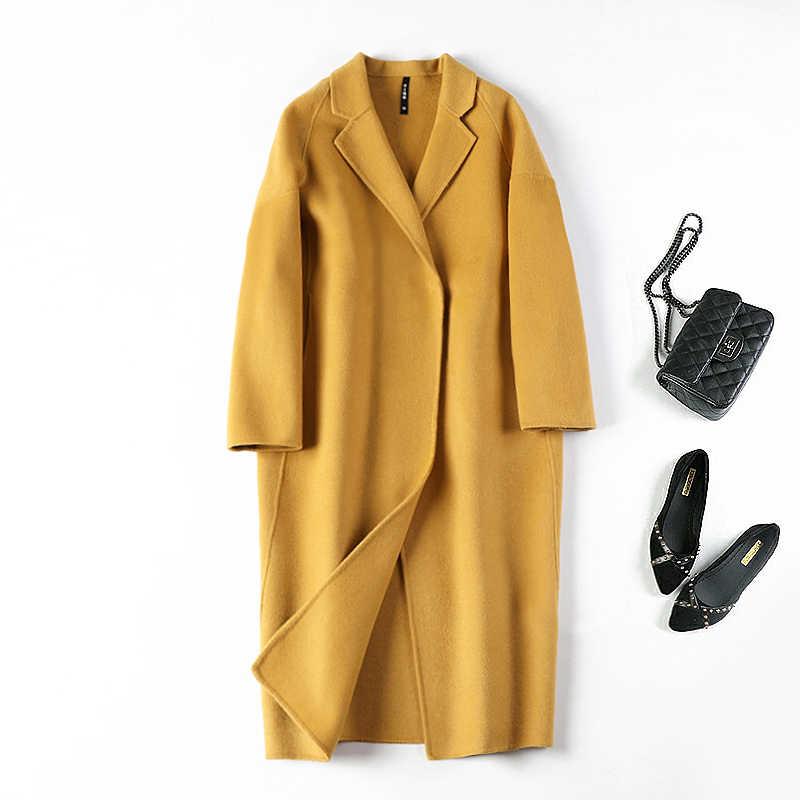 (Abdeckung) doppelseitige kaschmir mantel weibliche lange kokon über-die-knie zeigen dünne wolle woolen tuch mantel kultivieren moral