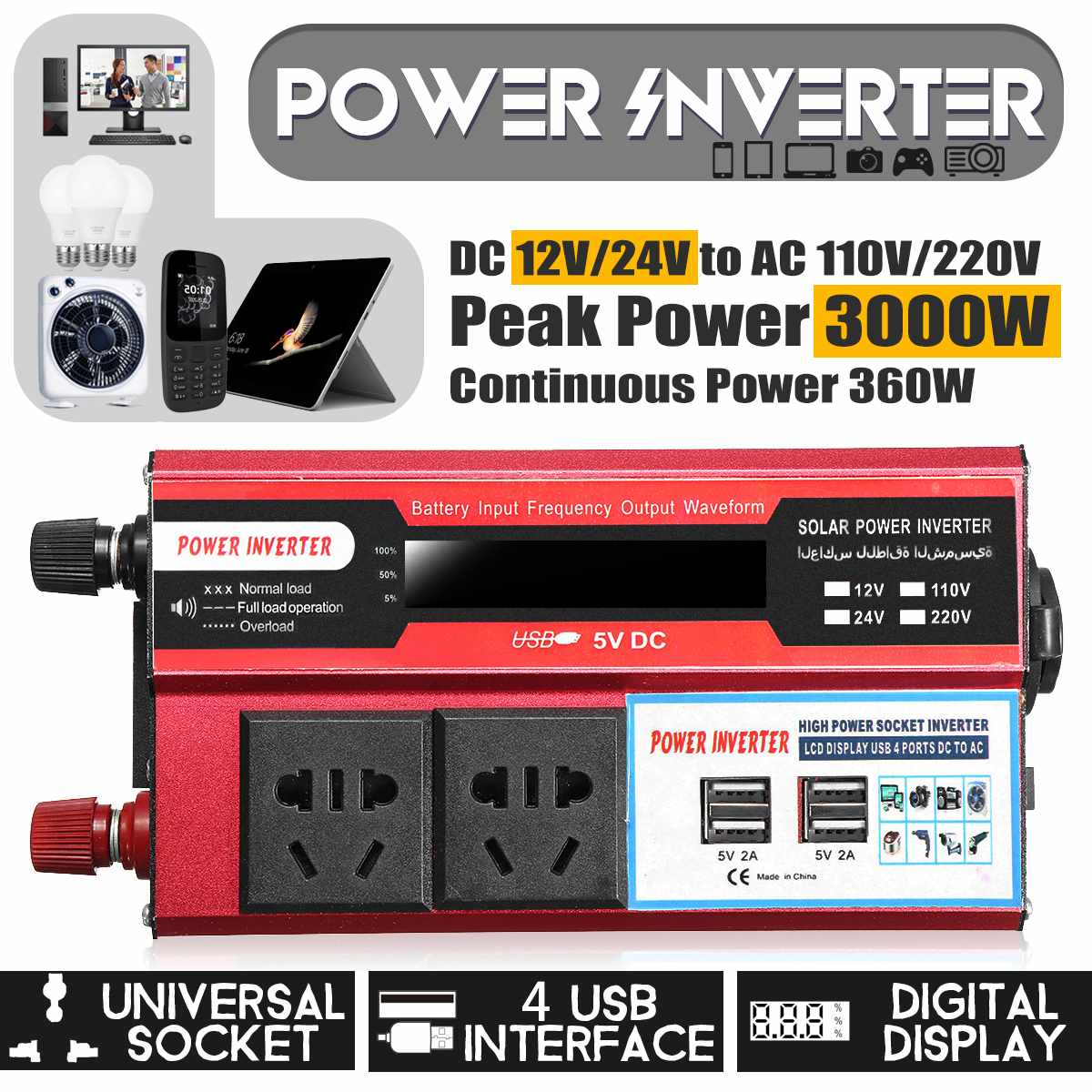 Solar Inverter 12V 220V 3000W Pe ak Power Spannung Konverter Transformator DC 12 V/24 V AC 110V Modifizierte Sinus Welle LCD Inverter