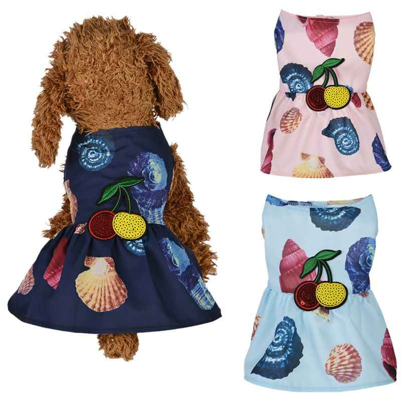 Fashion Dogs Summer Beach Dress, Pet Breathable Conch Print Princess Skirt for Small Dogs  Skirts2020