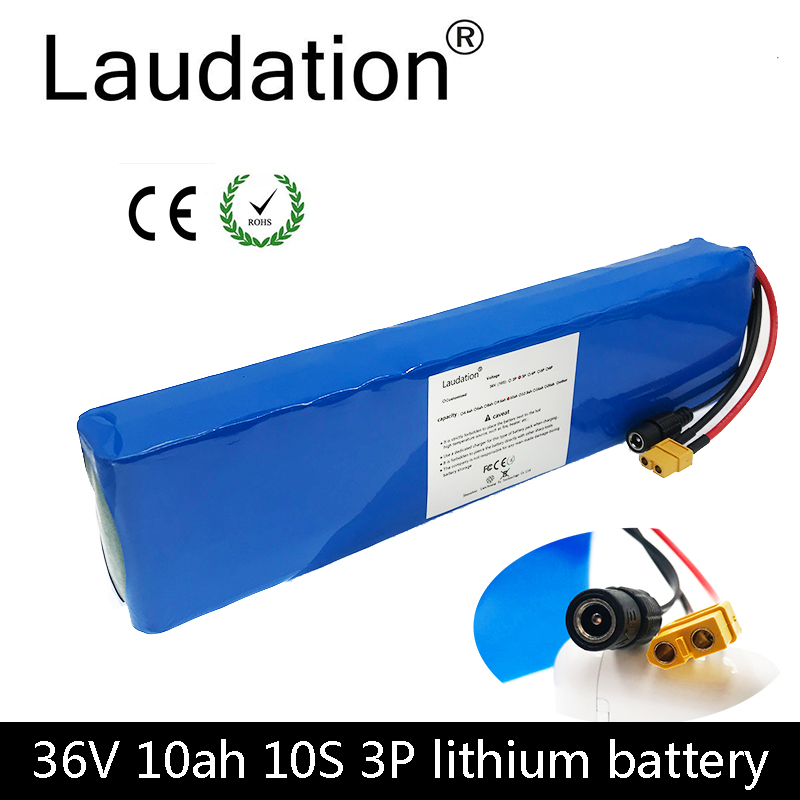 laudation <font><b>36V</b></font> <font><b>10ah</b></font> electric bicycle battery <font><b>18650</b></font> battery pack 10S3P 500W High Power and Capacity Motorcycle Scooter with BMS image
