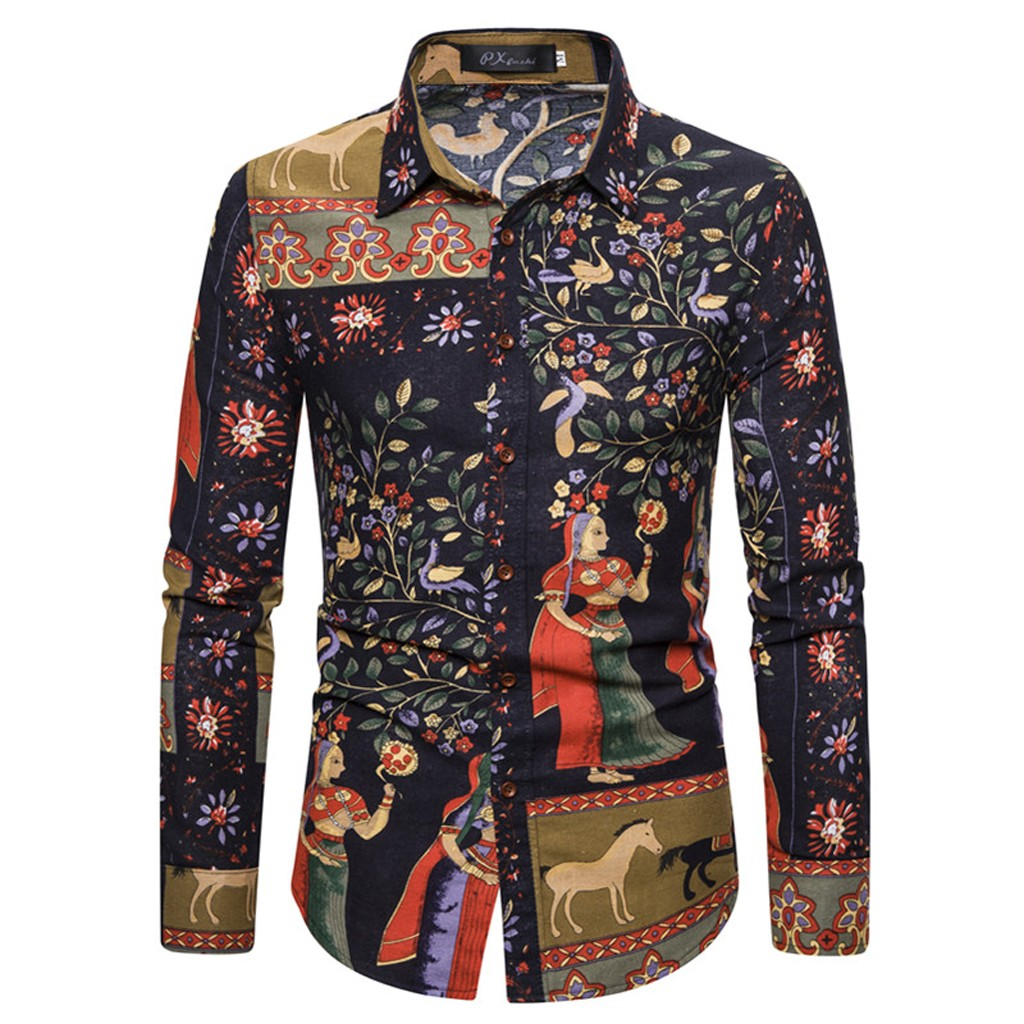 Fashion Mens Blouse Retro Style Printed Long Sleeve Casual Fit Silm Shirt Single Breasted Blouse Tops 11.25
