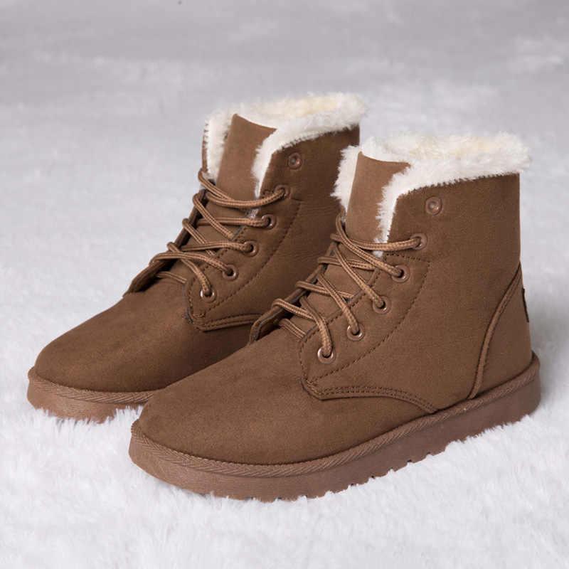 2019 Kış çizmeler kadın ayakkabıları Moda yarım çizmeler Kadın Botları Için Kadın Ayakkabı Sıcak Peluş Kar Botları Bayanlar Artı Boyutu 42 43