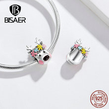 BISAER Colorful Charms Happy Elk Charms Beads 100% 925 Sterling Silver Charms Fit Pan Bracelet Original Cute Charms Jewel HVC073 charms beads 100