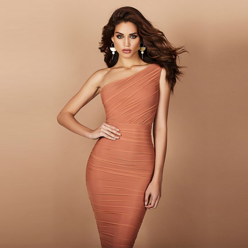 Adyce 2020 New Summer Women One Shoulder Celebrity Evening Party Bandage Dress Vestidos Sexy Khaki Sleeveless Bodycon Club Dress