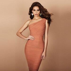 Image 1 - Adyce vestido Bandage de noche caqui sin mangas, vestido de noche sexi con un hombro al descubierto para mujer de verano 2020