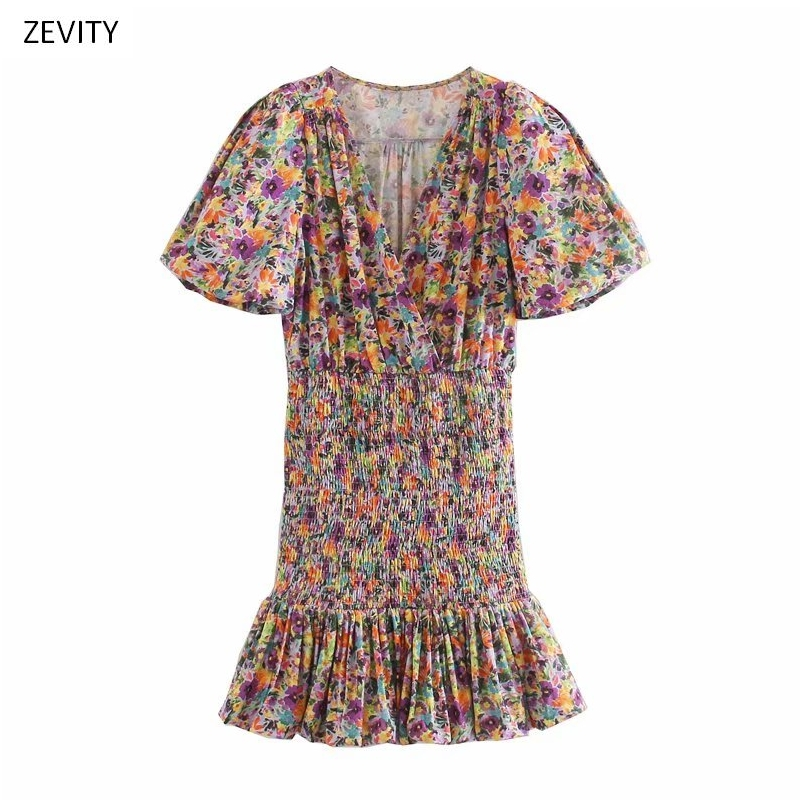 New women vintage v neck flower print shrink fold pleated mini dress chic female puff sleeve casual vestido party dresses DS3712
