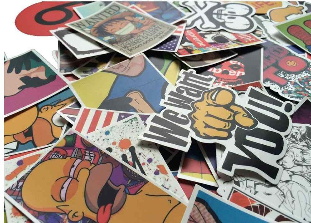 100 ملصقات قطعة/الحزمة الكلاسيكية موضة الكتابة على الجدران ملصقا ملصقات فاخرة ل موتو سيارة حقيبة كمبيوتر محمول رائع الكرتون أنيمي تزلج