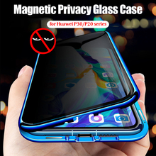 Privacy Tempered Glass Case for Huawei P30 Pro Mate 20 Cover 360 Protection Metal Bumper Shell P20