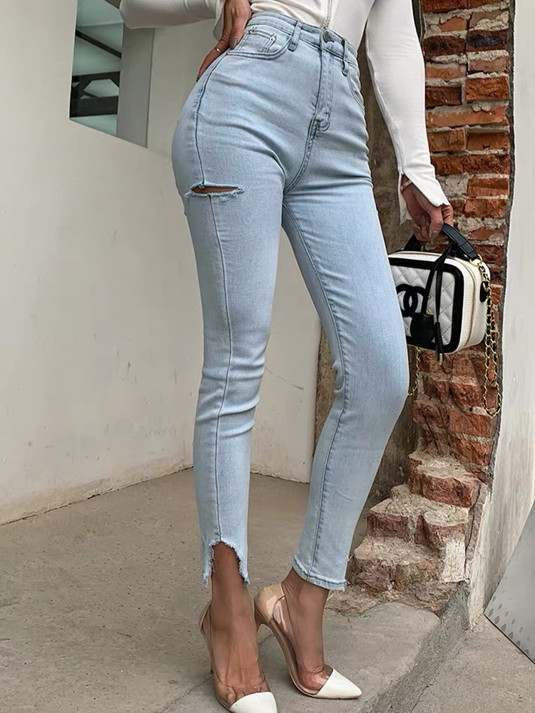 2020 Summer New Light Blue High Waisted Jeans Women's Tight Sexy Cropped Pants With Holes Women's Hip Pants With Open Legs