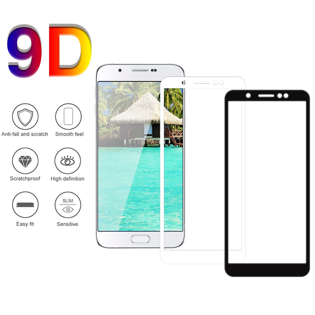 9D Full Cover Tempered Glass on the For Samsung Galaxy J3 A90 A80 A8plus <font><b>A82018</b></font> Screen Protective Glass Protective Film Case image