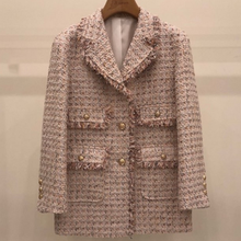 2020 spring autumn samll fragrance tweed blazer women fashion slim single breast