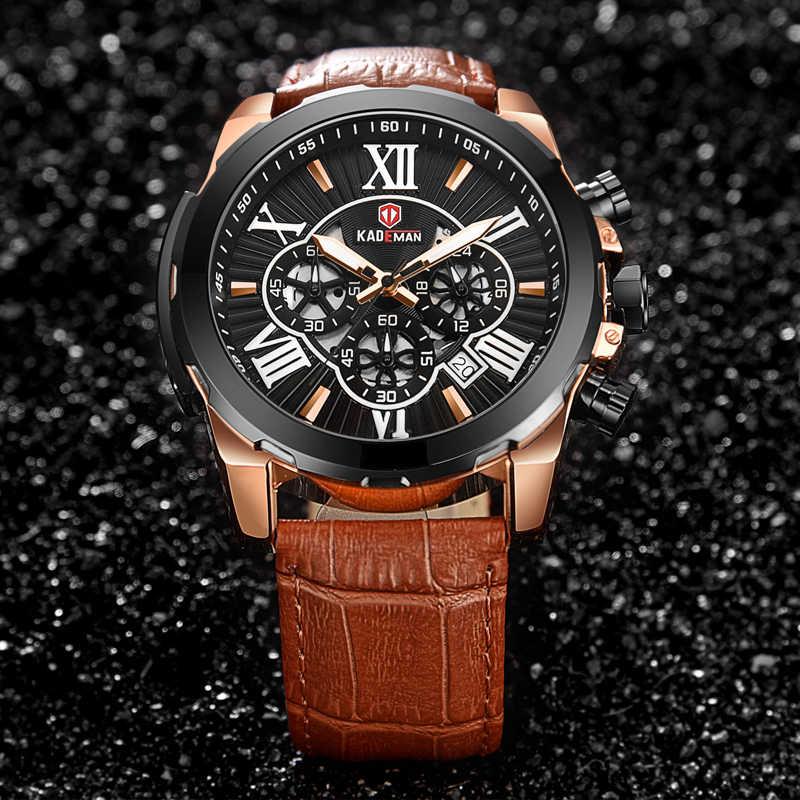 KADEMAN marque de luxe hommes montre-bracelet chiffres romains 6 aiguilles avec chronographe calendrier mode homme en cuir montres à Quartz 848