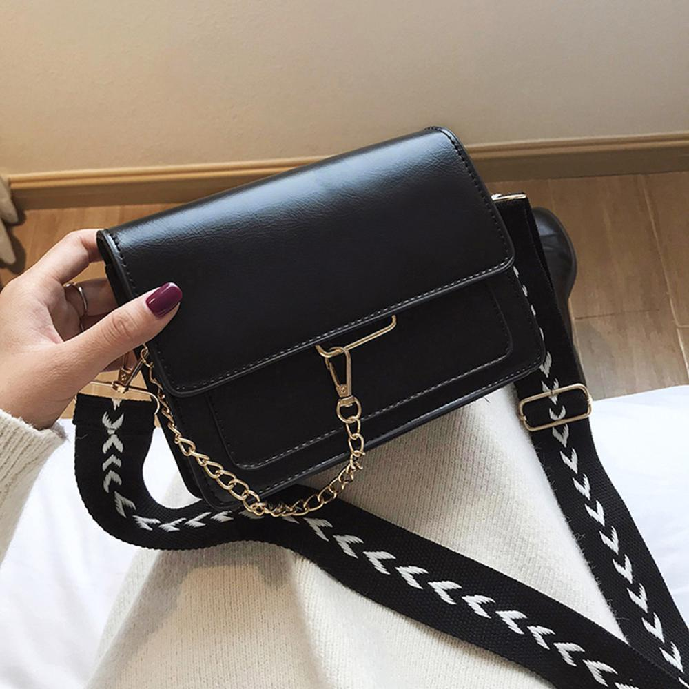 Brand Leather Crossbody Bags Wide Band Women's Shoulder Bag Fashion Ladies Messenger Bags Chain Hasp Handbag #15