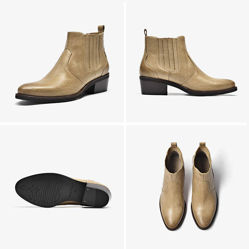 BeauToday Chelsea Boots Women Genuine Cow Leather Round Toe Elastic Band British Lady Ankle Boots Winter Shoes Handmade 03286