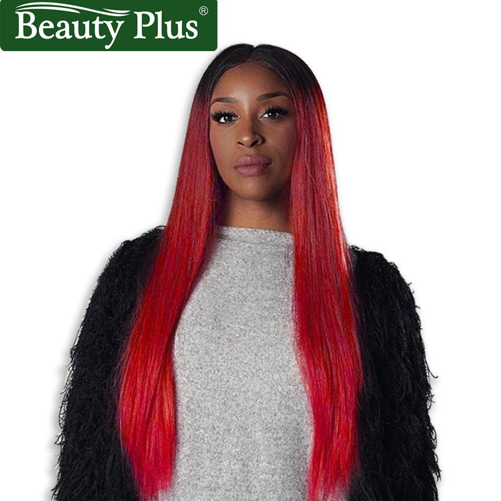 Red Ombre Human Hair Wigs Remy Lace Front Human Hair Wigs 13*4 Frontal Lace Wigs 150% Density Brazilian Straight Wig Human Hair
