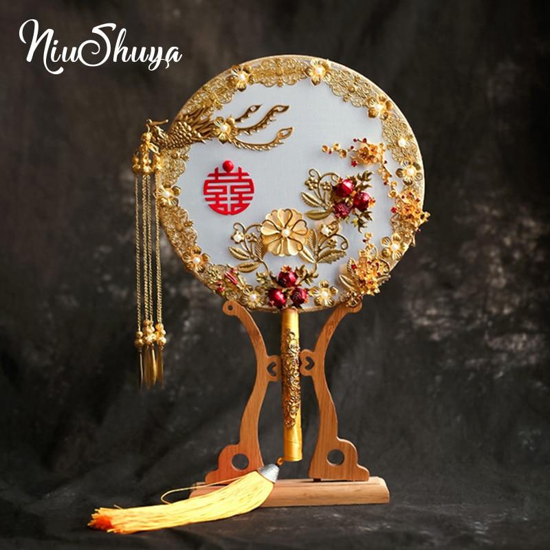 NiuShuya Elegant Jewelry Wedding Bouquet Silk 3D Fan Pomegranate Red Bead Golden Phoenix Metal Round Hand Flower Fan for Bridal