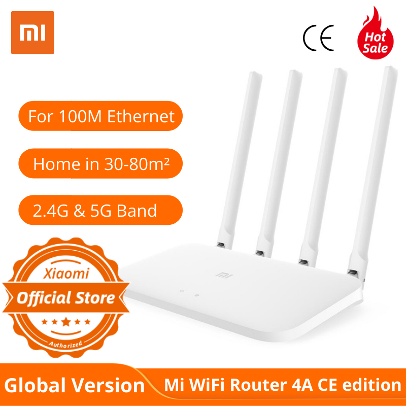 Global Version Xiaomi Mi Router 4A Standard Edition 100M 2.4GHz 5GHz WiFi ROM 16MB DDR3 64MB High Gain 4 Antennas Remote APP Con