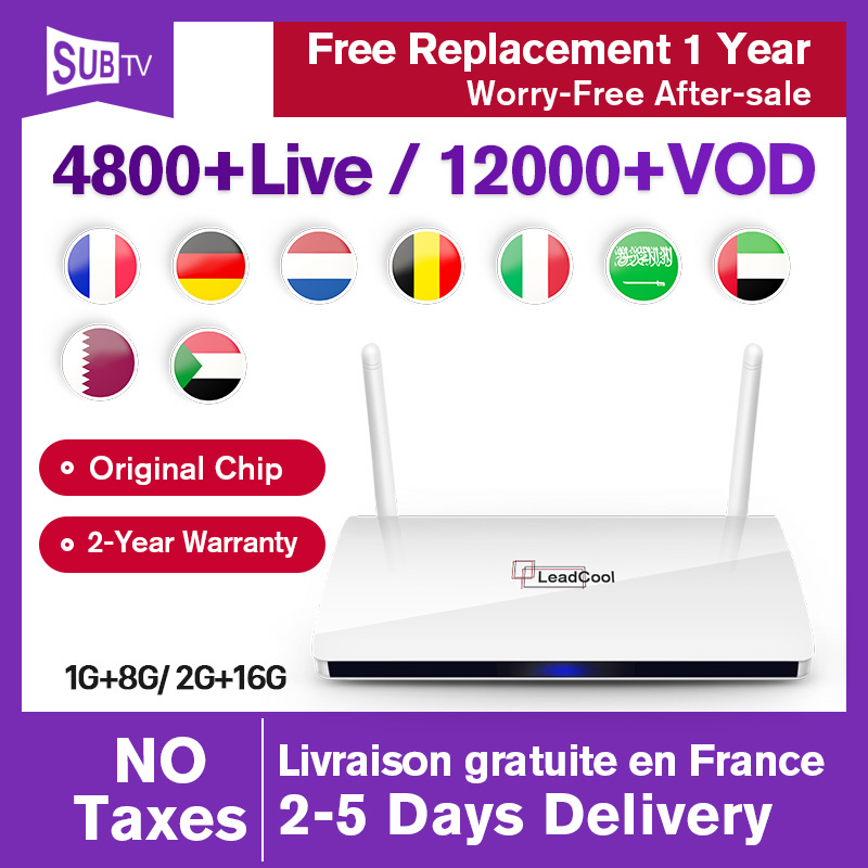 Leadcool IPTV France arabe Android smart SUBTV box avec dans le monde entier en direct Full HD VOD 1 an IPTV code d'abonnement IPTV français