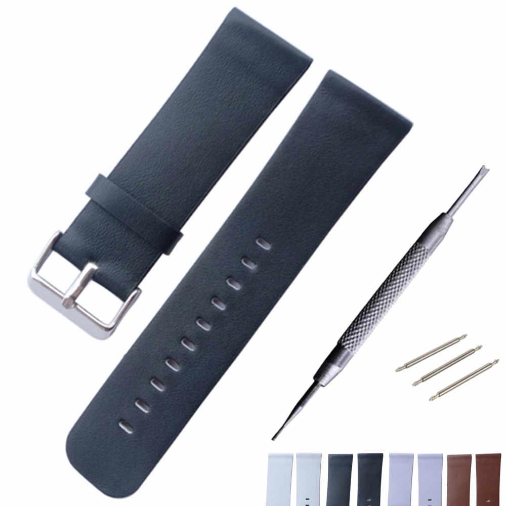 24mm suave cuero genuino Correa ForDS reloj Pam correa de muñeca acero hebilla pulsera + herramienta