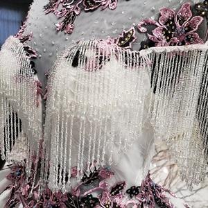 Image 5 - HTL1060 Длинные платья Вечернее платье 2020 аппликации цветы Высокая шея Бисероплетение кисточки короткий рукав на шнуровке сзади