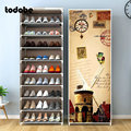 Простой многослойный шкаф для хранения обуви, нетканый шкаф для дома и общежития, компактный держатель для обуви с молнией