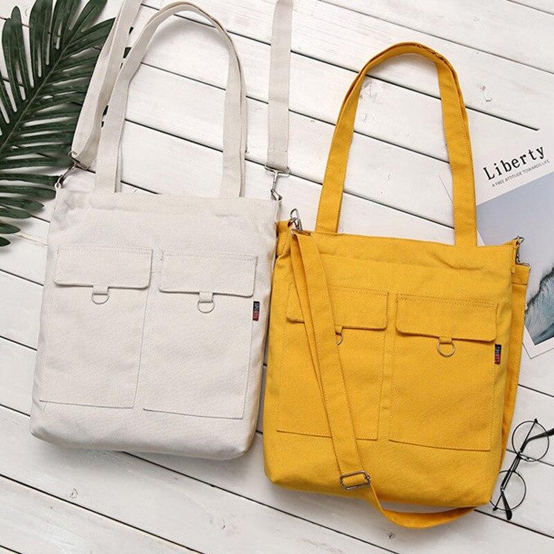 Women Bag 2018 Fold Casual Minimalist Literary Female Handbags Shoulder Messenger Bags Student Canvas Black White Yellow Blue