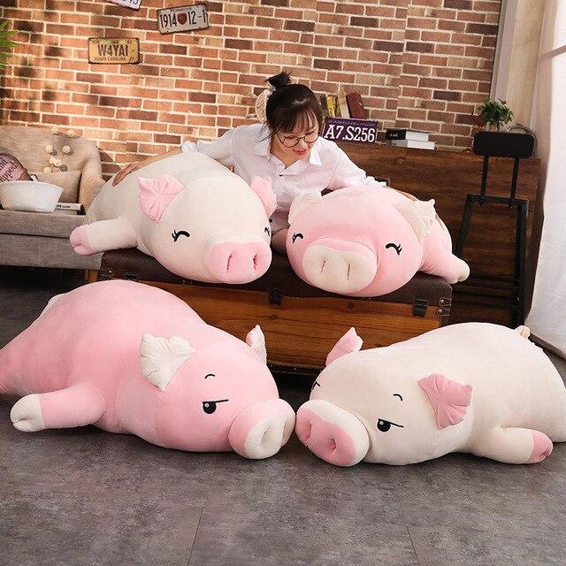 110cm HOT Giant Piggy Doll Pink White Lying Sleepy Plush Animal Toy Ultra Soft Squishy Down Cotton Stuffed Children Gift 1