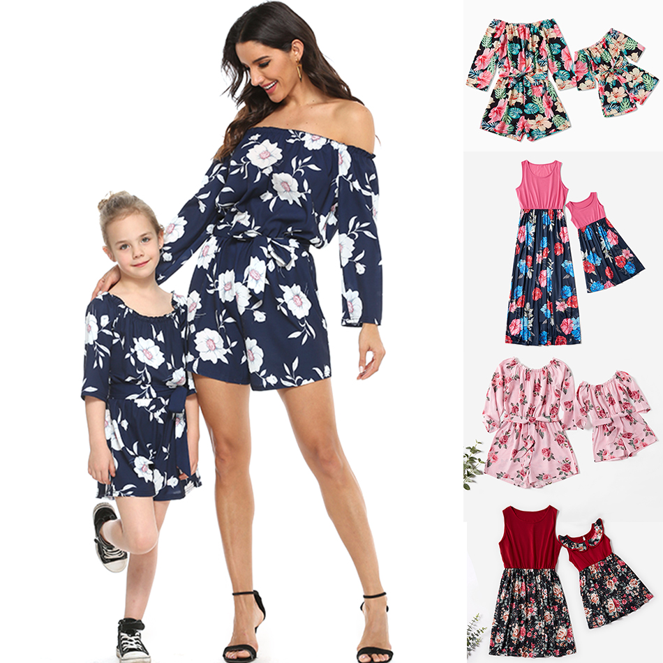 Mom And Daughter Floral Dress Soft Casual Fashion Clothes Girls Dress Family Matching Mommy and Me Clothing Mother Kids Outfits