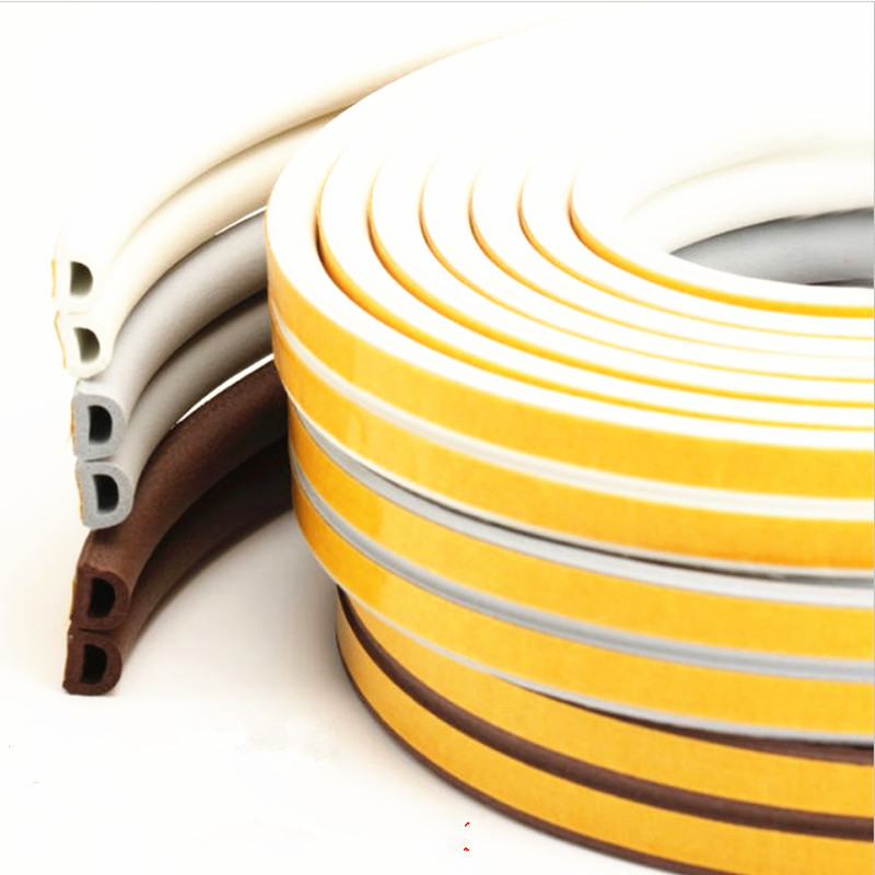 Image 3 - 5 Meters D P E Type Draught Excluder with Self Adhesive Foam Rubber Seal Strip for Window and Door seal in Home ImprovementSealing Strips   -