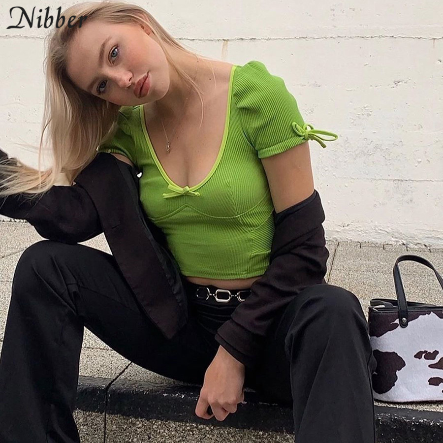 NIBBER Neon Green Soft Ribbed Knitted Cute Bodycon Crop Top Women T-shirts 2019 Autumn Fashion Casual Puff Sleeve Bow Tees Mujer