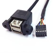 50cm podwójny USB 2 0 typu A do płyty głównej 9 Pin kabla z otworami do montażu na panelu śrubowym tanie tanio CN (pochodzenie) USB Adapter Dostępny w magazynie C-161