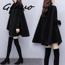 Laipelar New Plus Size 2Xl Women Loose Wool Cloak Batwing Poncho Winter Cape Outwear Casual Stylish Jacket Coat batwing sleeve wool cape coat