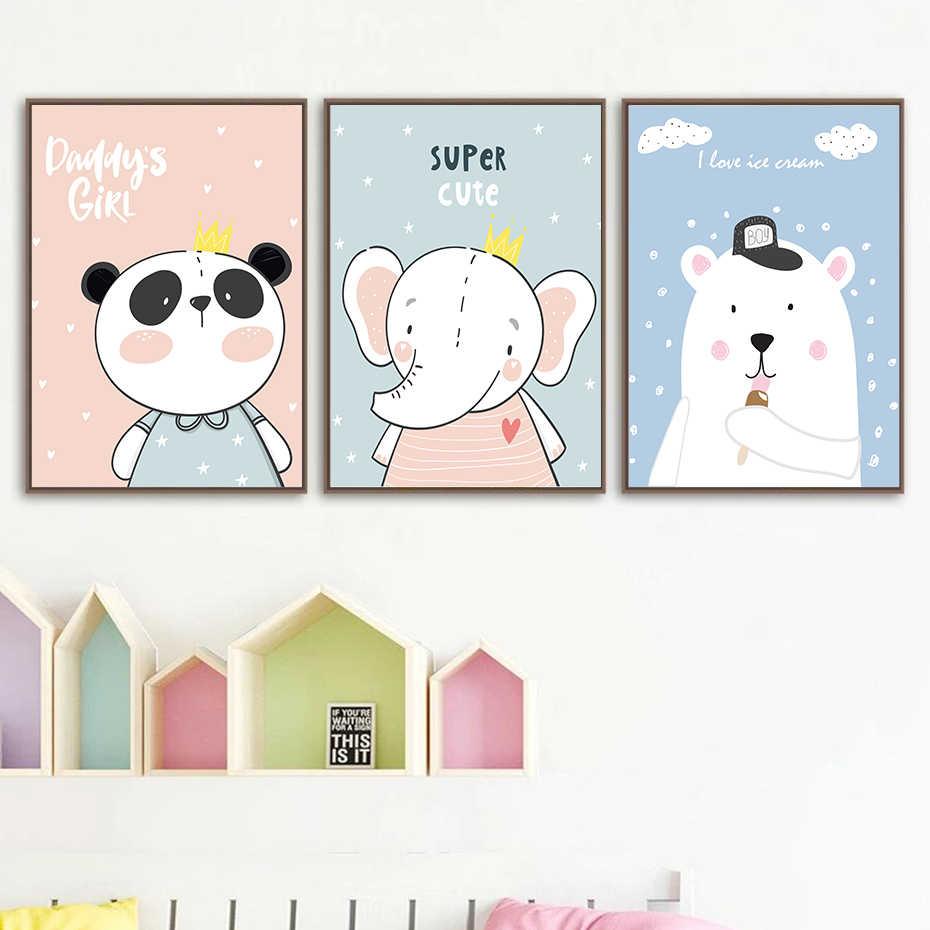 Cizgi Film Sevimli Kucuk Fil Panda Posteri Kres Dekor Tuval Boyama