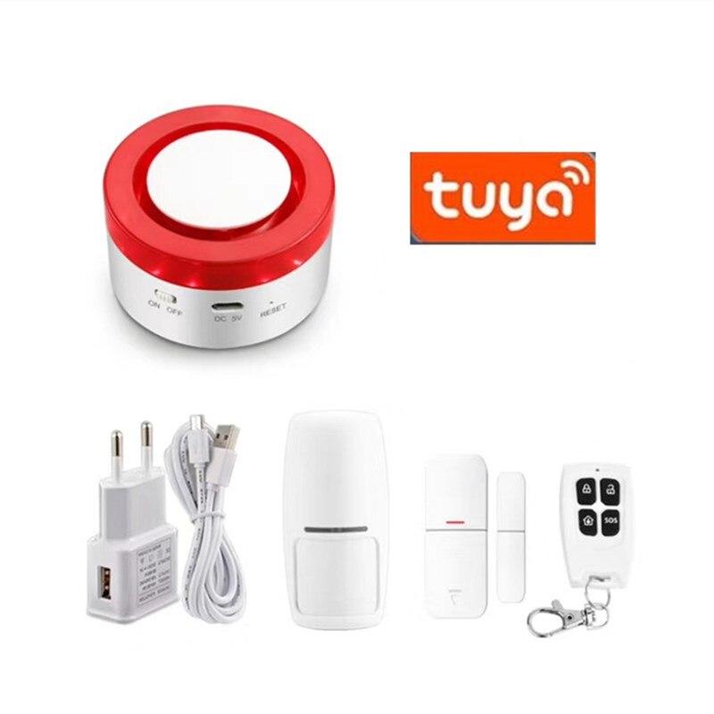Tuya Smart WiFi Home Security Alarm System Gateway and Strobe Siren work with Amazon Alexa Google Home IFTTT Voice Control