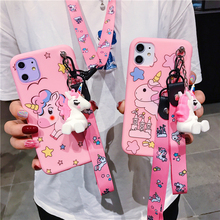 Cute Unicorn TPU Silicone Matte Case for iPhone 8 Plus 6 6S 7 X Fashion Doll Pendant iPhoneXS Max XR 11 11PRO