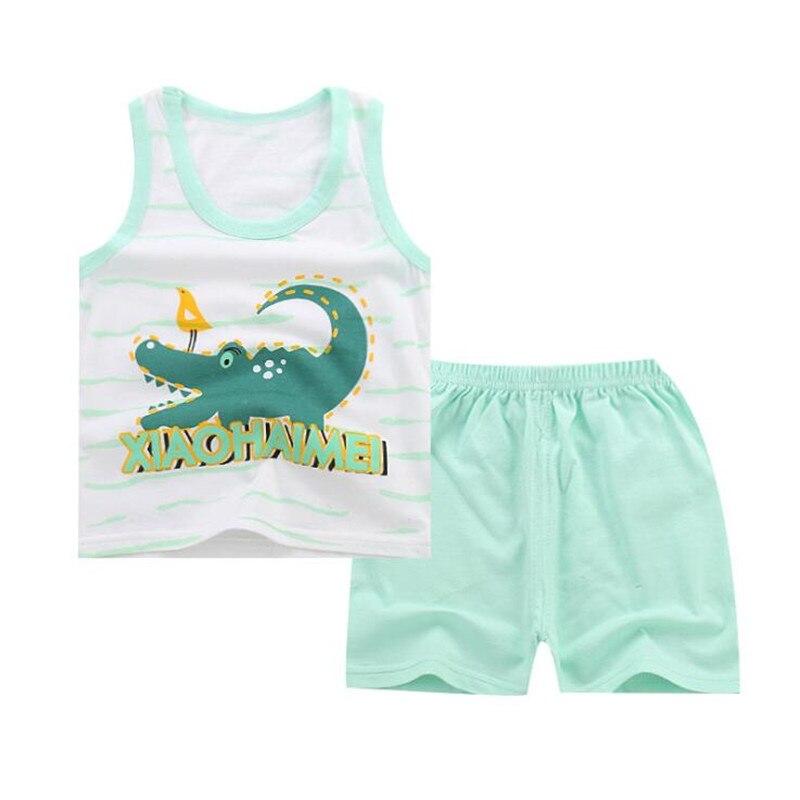Summer 2pcs Suits Baby Boy Clothing Set Cartoon Boys Girls Vest Clothes Set Cotton Sleeveless Sports T Shirts Toddler Shorts