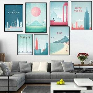Plakat drukuje malarstwo minimalistyczny nowy jork podróż miasto londyn Los Angeles meksyk obrazy na ścianę salon dekoracji wnętrz