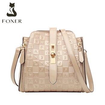 Bolso de hombro para mujer FOXER, bandolera brillante de PVC con diseño de letras Lrregular, bolso de mensajero de lujo para mujer, bolso de regalo para mujer