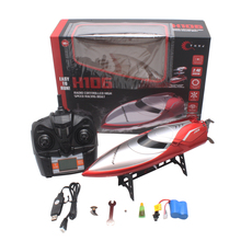 цена на RC Ship 28km/h H106 Red Speedboat High Speed RC Boat 2.4GHz 4 Channel With LCD Screen Racing Remote Control Boat Toys Gift